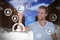 Composite image of handsome man pointing at something Royalty Free Stock Images
