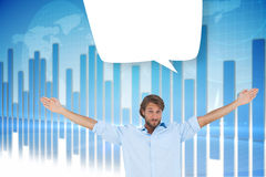 Composite image of handsome man raising hands with speech bubble Royalty Free Stock Image