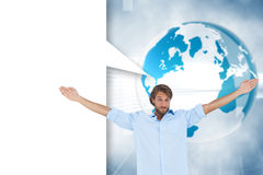 Composite image of handsome man raising hands with speech bubble Stock Photos
