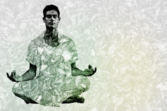 Composite image of handsome man in white meditating in lotus pose Stock Photos