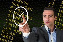 Composite image of handsome young businessman pointing Stock Photos