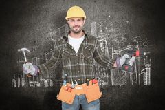 Composite image of handyman wearing tool belt. Handyman wearing tool belt against hand drawn city plan royalty free stock image