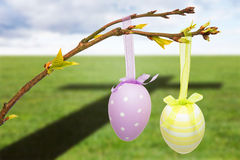 Composite image of hanging easter eggs Royalty Free Stock Image
