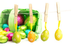 Composite image of hanging easter eggs Royalty Free Stock Photo