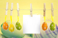 Composite image of hanging easter eggs Royalty Free Stock Photos