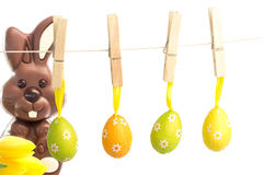 Composite image of hanging easter eggs Stock Photo