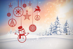 Composite image of hanging red christmas decorations Royalty Free Stock Images