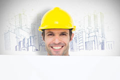 Composite image of happy architect with bill board over white background Royalty Free Stock Image