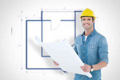 Composite image of happy architect holding blueprint in house. Happy architect holding blueprint in house against blueprint Royalty Free Stock Image