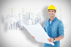 Composite image of happy architect holding blueprint in house. Happy architect holding blueprint in house against grey Royalty Free Stock Images