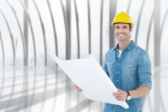 Composite image of happy architect holding blueprint in house. Happy architect holding blueprint in house against white room with large window overlooking city Stock Photography
