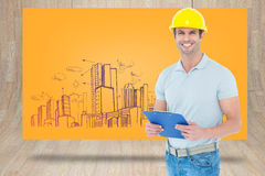 Composite image of happy architect holding clip board Stock Image