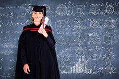 Composite image of happy attractive graduate Royalty Free Stock Photos