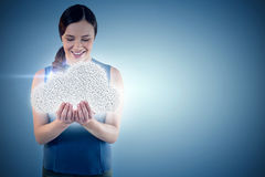 Composite image of happy beautiful woman with hands cupped 3d Stock Image