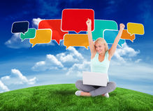 Composite image of happy blonde with speech bubbles Stock Photography