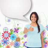 Composite image of happy brunette giving thumbs up with speech bubble Stock Images