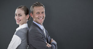 Composite image of happy business team. Happy business team against grey background Royalty Free Stock Photos