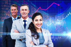 Composite image of happy business team standing in a line Royalty Free Stock Photo