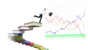 Composite image of happy businessman leaping with his briefcase Royalty Free Stock Photos
