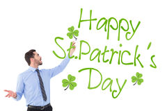 Composite image of happy businessman pointing something with marker Stock Images
