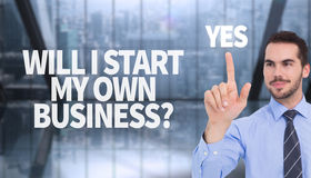 Composite image of happy businessman standing and pointing up Royalty Free Stock Photography