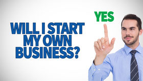 Composite image of happy businessman standing and pointing up Stock Image