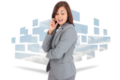 Composite image of happy businesswoman Royalty Free Stock Photos