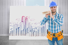 Composite image of happy carpenter carrying wooden planks Stock Image