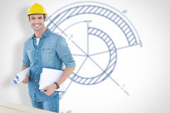 Composite image of happy carpenter holding rolled blueprint and clipboard. Happy carpenter holding rolled blueprint and clipboard against blueprint Stock Image