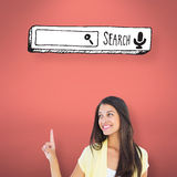 Composite image of happy casual woman pointing up. Happy casual woman pointing up against pink Stock Image