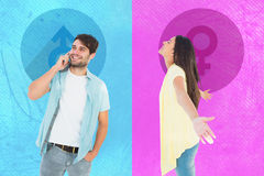 Composite image of happy casual woman spreading her arms Stock Images