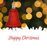 Composite image of happy christmas. Happy Christmas against red christmas bell decoration hanging Stock Photography