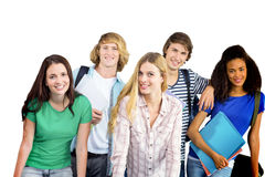 Composite image of happy college students. Happy college students against white background with vignette Stock Images