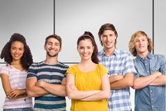 Composite image of happy college students with arms crossed. Happy college students with arms crossed against white tiling Royalty Free Stock Image