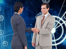 Composite image of happy corporate man doing handshake Royalty Free Stock Photography