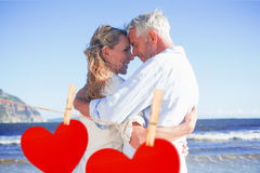 Composite image of happy couple on the beach touching faces Stock Image