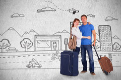 Composite image of happy couple going on holiday Stock Photos