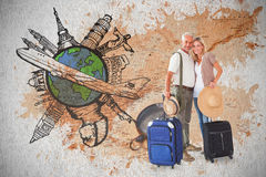 Composite image of happy couple ready to go on holiday Stock Photo