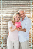 Composite image of happy couple showing their piggy bank Royalty Free Stock Image