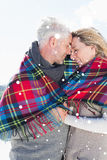 Composite image of happy couple wrapped up in blanket standing on the beach Stock Photos