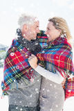 Composite image of happy couple wrapped up in blanket standing on the beach Stock Image