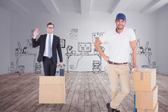 Composite image of happy delivery man leaning on trolley of boxes Stock Photo