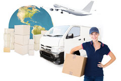 Composite image of happy delivery woman holding cardboard box Royalty Free Stock Photo