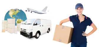 Composite image of happy delivery woman holding cardboard box Stock Photography