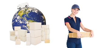 Composite image of happy delivery woman holding cardboard box Royalty Free Stock Photography