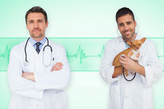 Composite image of happy doctor and vet Royalty Free Stock Photo