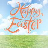 Composite image of happy easter. Happy easter against field and sky Royalty Free Stock Photography