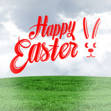 Composite image of happy easter. Happy easter against field and sky Stock Images
