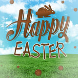 Composite image of happy easter graphic. Happy easter graphic against field and sky Royalty Free Stock Photos