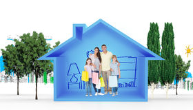 Composite image of happy family carrying shopping bags Royalty Free Stock Image